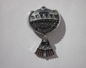 Pendant silver metal and rhinestones 3.8 cm high (B11)
