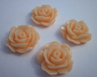 4 resin flowers to paste 16x18mm salmon color (DR1-20)