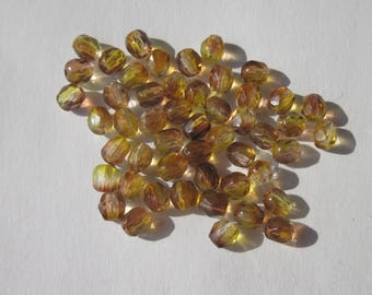 50 faceted beads in Brown and yellow 4mm Czech glass (PV23-76