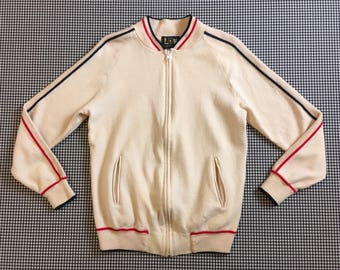 1970's, wool, track jacket style, zip front cardigan, in cream, with navy and red, Men's size Small, Women's size Medium