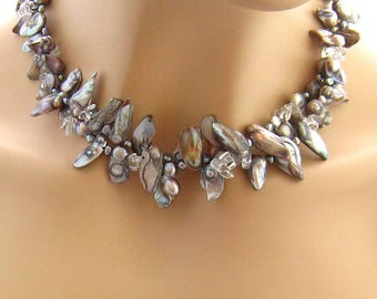 Beach Jewelry, Ocean Jewelry, Oyster Shell Necklace, Beach Necklace, Ocean Necklace, Double Strand Natural Seashell Necklace, Marine Jewelry