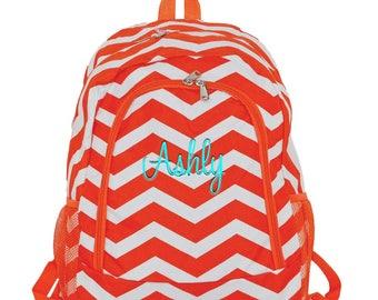 Personalized Backpack  | School Backpack | Monogrammed Backpack | Girls Backpack | Teen Backpack | Kids Backpack | Orange Chevron Backpack