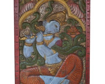 Welcome Door Panel Antique Vintage Krishna Fluting under Kadambari Wish Tree Melody Sculpture, Wall Decor