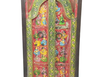 Antique Wardrobe Hand Painted Haveli Almirah Cabinet Shabbychic Interiors Design FREE SHIP Early Black Friday