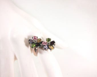 """Marcasite, Multi Colored Gemstones And 925 Sterling Silver Floral Size 8 1/2"""" Ring"""