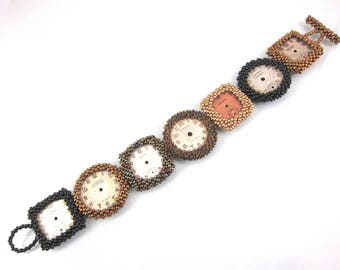 Vintage One Of A Kind Original 1930s Watch Face Hand Beaded Bracelet