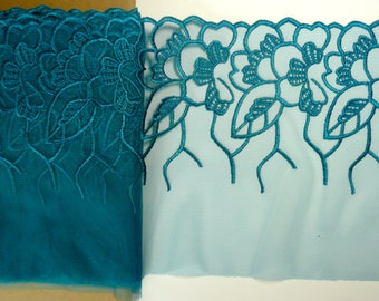 Bra Making. Embroidered  Lace. 8.75  inches wide. Non Stretch. Beautiful King Fisher Blue Colour