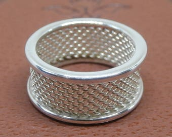 Vintage Tiffany & Co. Sterling Silver Double Band Mesh Unisex Ring ~ Size 6 1/4 ~ Authentic Tiffany Sterling Silver 925 Ring ~ Designer Ring