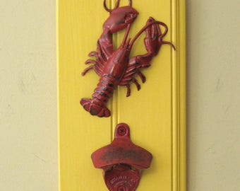 Crawfish wall bottle opener with optional cap catcher - crawfish bottle opener, lobster bottle opener
