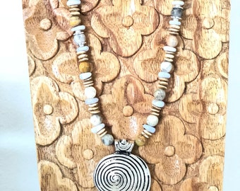 Blue Lace Agate necklace/Tibetan silver spiral shape pendant/Natural Crazy Lace Agate/calming stone/natural stone/boho necklace