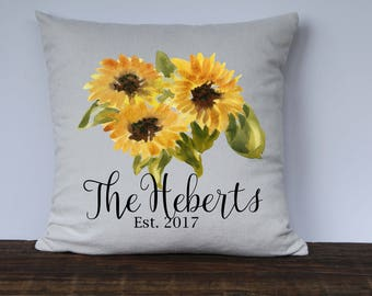 Farmhouse Personalized Pillow Cover, Sunflower Pillow Cover, Anniversary Gift, Wedding Gift, Housewarming gift