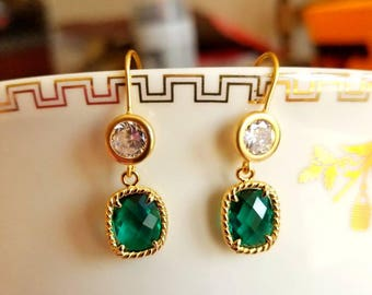 Gold plated faceted diamond  emerald glass earrings