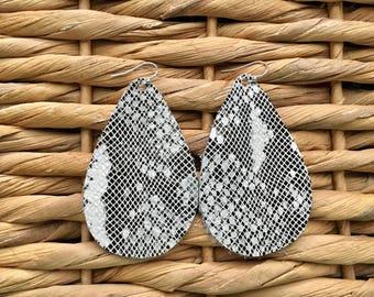 BLACK and WHITE Snakeskin Print Leather Teardrop Earrings- Leather Teardrop Earrings- Big Leather Earrings- Statement Earrings