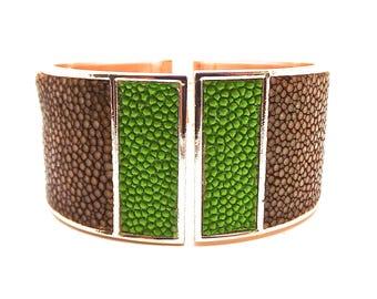Bracelet cuir de galuchat vert anis et marron
