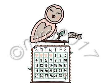 June 2017 Owl Calendar Printable