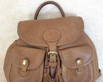 15% SUMMER SALE Genuine vintage Dooney & Bourke tan All Weather Leather backpack bag