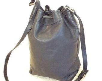 10% OFF SALE Genuine Bonia vintage black leather drawstring shoulder bag
