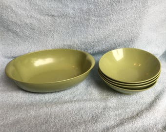 Avocado Green plates and Serving Bowl