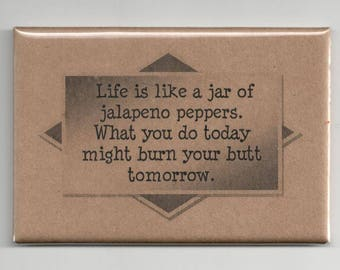 332 - Life is like a jar of jalapeno peppers.  What you do today might burn your butt tomorrow.