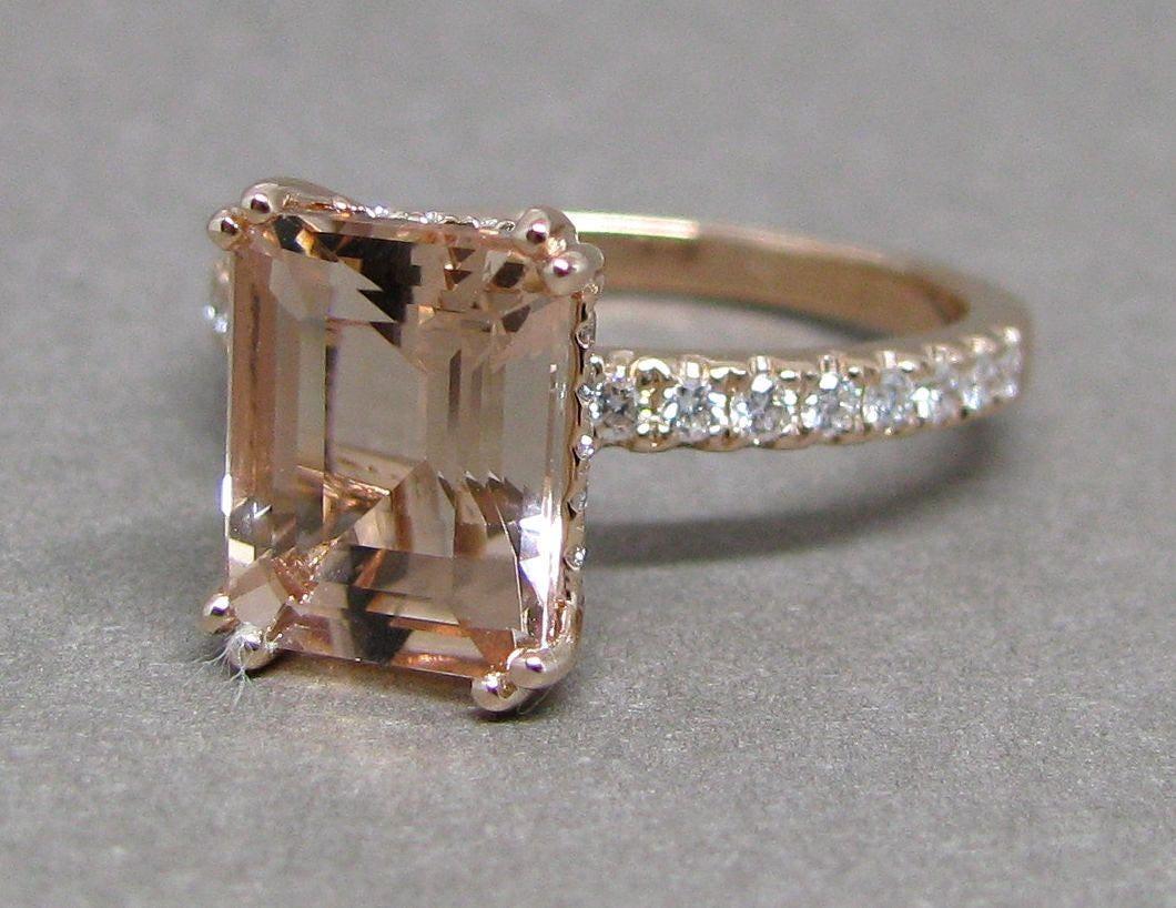morganite engagement ring emerald cut 14k gold