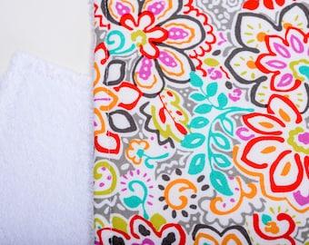 Burp Cloth - Multicolor Floral Line Art