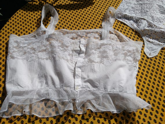 Victorian White Lace Tulle Corset Top French Cotton Handmade Medium Colectible Theater Costume #sophieladydeparis