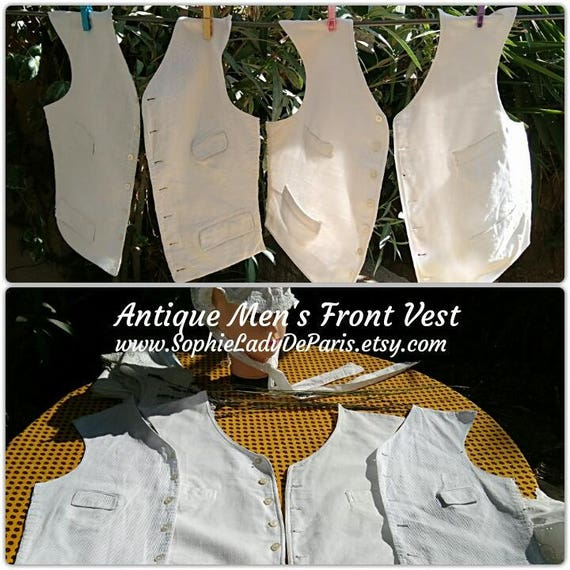 2 Victorian Men Front Vest Kit White Ribbed Cotton Made Lined Sewing Project #sophieladydeparis