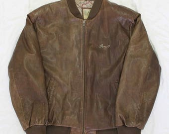 Vintage 80's Guess Bomber Leather Georges Marciano Jacket M