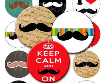 SALE- Mustaches - Digital Collage Sheet  - 2.25 inch Round Circles - INSTANT DOWNLOAD