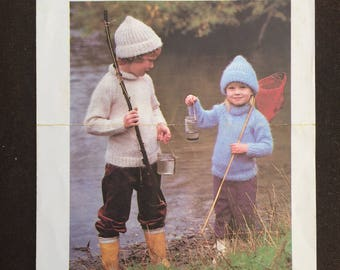 Polo-Necked jersey and hat (YOUNG CHILDRENS) Knitting Pattern