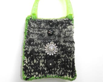 Green Black and White Hand Knit Felted Purse Bag - Black and White and Green All Over