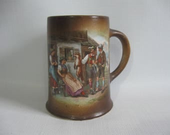 Beer Stein, Austrian Tavern Scene, Lusty Wenches and Stalwart Gents with Dead Fox