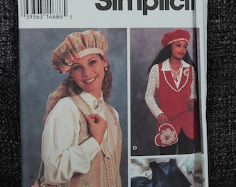 Simplicity 8700  sewing pattern- Berets and Handbags with matching Vest, Hats , size 6-8-10-12