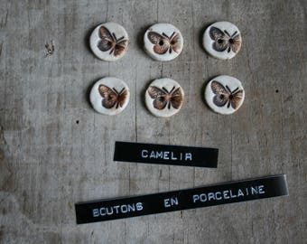 set of 6 mini porcelain ref 006 buttons