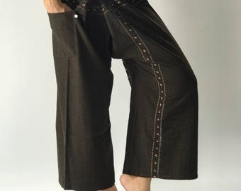 FD0045 Hand Sewing Inseam design for Thai Fisherman Pants Wide Leg pants, Wrap pants, Unisex pants
