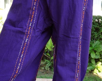 F80099 Hand stitch Unisex Thai fisherman pants, stitch Inseam design for Thai Fisherman Pants Wide Leg pants, Wrap pants