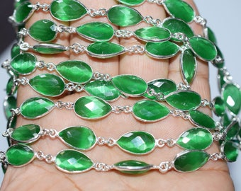 Green Catseye Quartz Bezel Set Pear Chain, hydro Quartz Connector Chain, Chain Per Foot 13x8mm Bezel Chain - Chain 55AA62