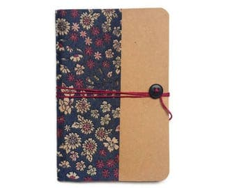 Notebook size a6 - flowers hand made cloth cover - school supplies