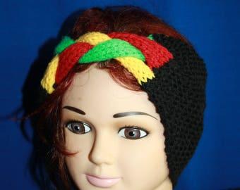 black headband with braided Center Rastafarian colors