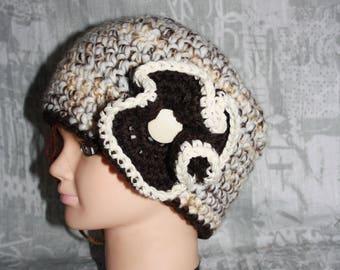 Heather brown hat, crochet, very warm, 2
