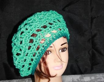 summer beret openwork cotton turquoise