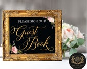 """Please Sign Our Guest Book (4 STYLES in 8""""x10"""" & 11""""x14"""") DIGITAL PRINT • Wedding Chalkboard Guest Book Sign (no physical product)"""