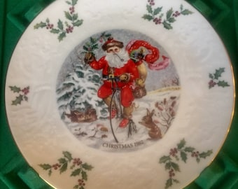 ROYAL DOULTON CHRISTMAS Plate in box Santa on Bike Sixth of a Series 1982 England Gs4c-714