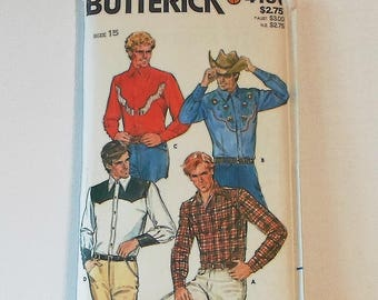 Vintage Butterick Pattern 4181 Size Medium Mens Western Shirt Collection 1980s