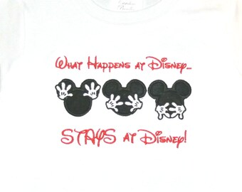 Disney Boy's Mickey Mouse What Happens in Disney Stays at Disney Shirt