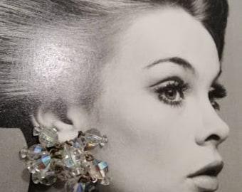 Vintage Laguna Crystal Clip On Earrings. Formal Aurora Borealis Dangling Crystal Earrings. Sparkling Crystal Dangling Clip On Earrings.