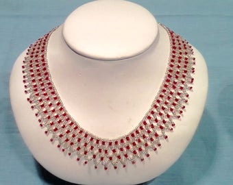 Handmade red & white seed bead bracelet that is sturdy, yet classy, for all occasions  and would also make a great gift