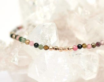Watermelon tourmaline bracelet - micro beaded bracelet - stacking bracelet - tiny bracelet - thin bracelet