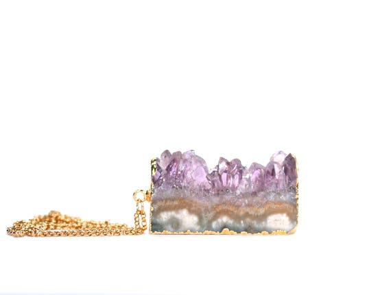 Gold edged amethyst slice necklace - statement necklace - raw amethyst - february birthstone - ASL4