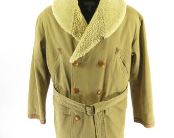Vintage 90s Polo Country Ralph Lauren Coat Mens M Real Shearling Tan Western [H82O_4-7]
